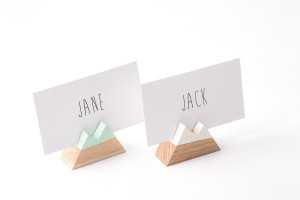 30 Mountain shaped Wooden Place Card Holders// Escort card holders // Perfect Modern Wedding Reception