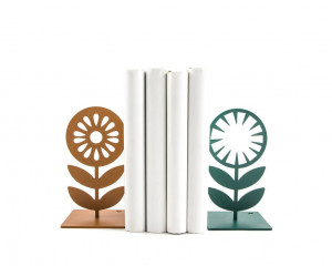 Nordic Flowers heavy metal Bookends // unique book holders for modern home // gift for reading Scandinavian design lover // FREE  SHIPPING