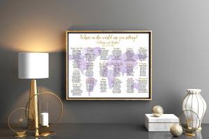 Purple seating chart wedding seating chart poster Travel seating chart Seating chart poster Seating chart wedding Rush order Travel themed
