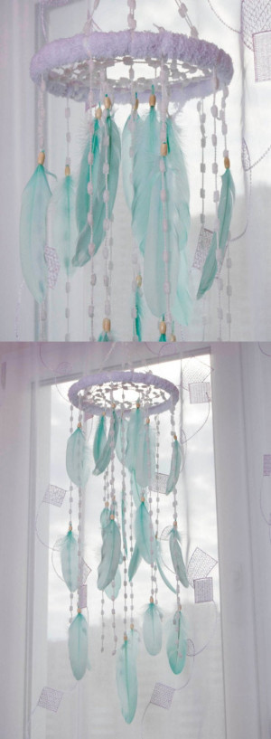 Mint Bаbу Mobile Nursery Decor Christmas Snow Mobiles bedding Fluffy Dream Catcher Kids Wedding mint Bedroom Dreamcatcher Boho Baby Girl Boy