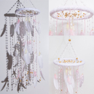 Gold Nursery Bаbу Mobile Decor Christmas Snow Mobiles gift ideas Bohemian Dream Catcher Kids Wedding Bedroom Dreamcatcher Boho Baby Girl Boy