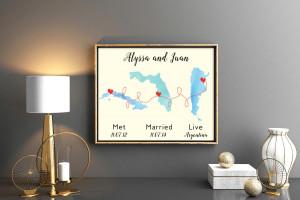 We met we married live Anniversary gift 1st anniversary gift gift for husbands Engagement Gift Whimsical wedding gift Custom wedding map art