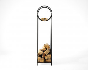 Log holder // Firewood Storage for indoors or outdoors with a round kindling section // Hand forged from durable iron // Bauhaus