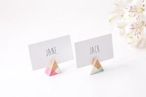30 Geometric Wooden Place Escort Card Holders /Triangular shape / Perfect Modern Wedding Reception