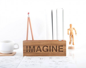 Desk organizer IMAGINE for pencils, brushes and pens. Natural wood FREE SHIPPING