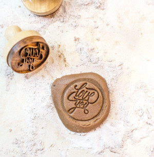 Cookie stamp /mold / cutter / Love you // customise it with the writing of your choice // Carved from hard wood // housewarming gift