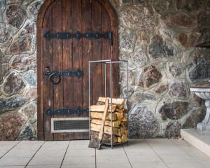 Log Holder Flat Top // Firewood Storage Container // Raw style hand forged metal // free shipping worldwide