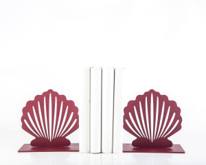 Metal Bookends Red Shell Functional Shelf Decor Organizer FREE  SHIPPING