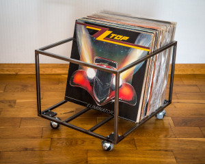LP storage // Album crate // Record box on  rotating wheels // container holds over 80 LP records // free shipping