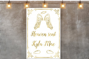 Baby shower backdrop sign, Party Banner Birthday Backdrop, Angel Backdrop Sign, Welcome Sign, White and gold backdrop, Printable Backdrop