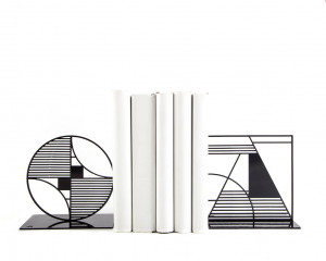 A pair of Metal Bookends - Shapes - // Geometry based unique architectural book holders for modern home // FREE  SHIPPING
