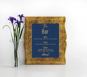 The Navy blue and gold Bar Menu Sign Custom Bar menu sign Drink Menu Gold Drink Menu Printable Wedding Bar Sign  Drink Sign Cheers Bar Signs