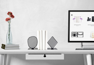 Stripes Limited bookends // Black edition // FREE SHIPPING // housewarming gift