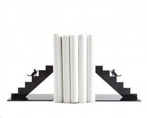 A set of two Decorative Bookends - Cat on the stairs - // unique book holders for modern home // gift for cat lover // FREE  SHIPPING