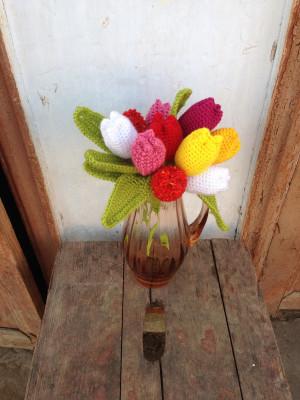 Set of 11 crochet tulips