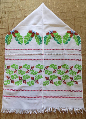 Hand embroidered Ukrainian towel Rushnyk cross stitch home or church decoration red color #d297