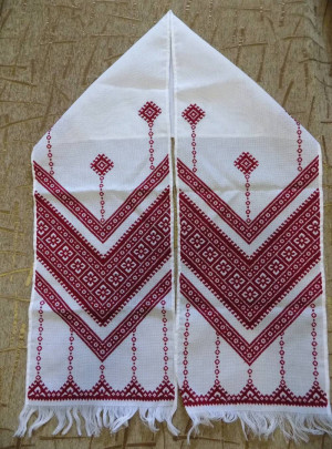 Red color Hand embroidered Ukrainian wedding towel Rushnyk new