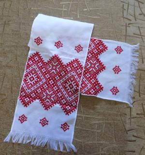 Red Color Hand embroidered Ukrainian Towel RUSHNYK RUSHNIK handmade