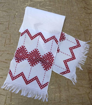 Hand embroidered Ukrainian towel Rushnyk home church decoration red color