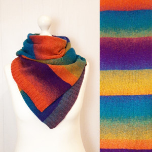 Knit wool scarf Multicolor stripe shoulder wrap Eco friendly Christmas gift for sister