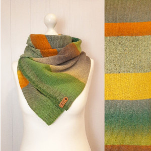 Green knit wool scarf - Stripe shoulder wrap - Eco friendly gifts for women