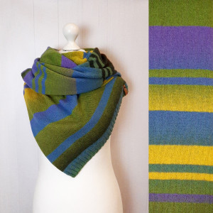 Colorful wool scarf , Hand knit stripe scarf , Gift for girlfriend and mom