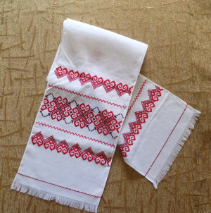 NICE RUSHNYK cross stitch towel red color Hand made embroidered in Western Ukraine