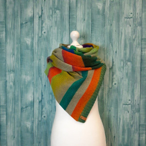 Eco friendly boho scarf multicolored, color block stripe wool scarf knit, cheer up gift for mother and girlfriend