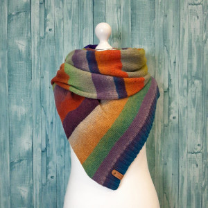 Color block stripe wool scarf, Eco friendly boho scarf multicolored, cheer up gift for mother and girlfriend