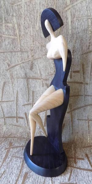 Unique Wooden FIGURINE FIGURE SCULPTURE of women
