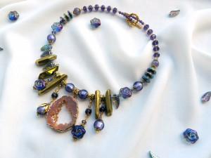 Large Bib necklace  Large druzy necklace Big Statement necklace  Gemstone jewelry Bold beaded necklace  Unique  Boho choker  Gift necklace