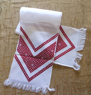 Hand embroidered Ukrainian wedding towel Rushnyk home decoration red color