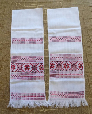 Lot of 2 Hand embroidered Ukrainian towel Rushnyk embroidery art red color cross stitch