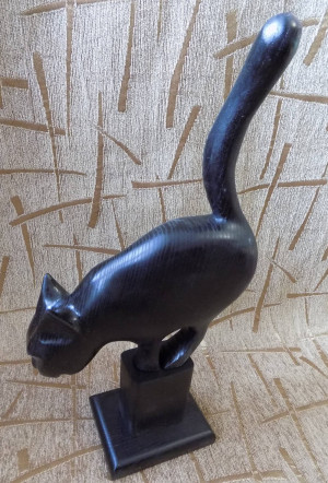 Black cat Unique Wooden FIGURINE FIGURE handmade from wood