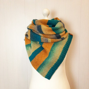 Multicolor stripe knit scarf Infinity scarf from wool Christmas gift for women
