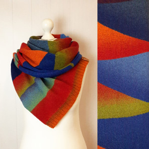 Multicolor stripe shoulder wrap Knit wool scarf Eco friendly organic gift for women