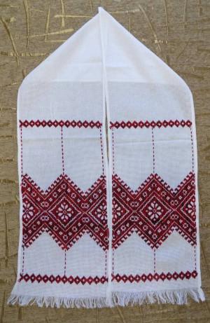 Hand embroidered Ukrainian RUSHNYK RUSHNIK wedding towel red color