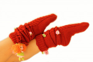 Knit long socks women with a butterfly doll Wool Socks Knitted socks Hand knitted socks original women's hand socks Gift socks for christmas