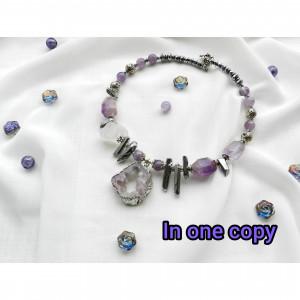 Gray Purple Necklace Amethyst druzy necklace  Precious Stone jewelry Raw Stone Necklace Big Statement Necklace Boho choker  Pyrite necklace