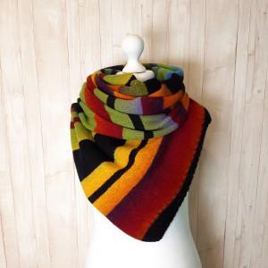 Eco friendly knit wool scarf, Color block stripe scarf, Best friend gift I miss