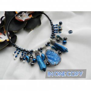 Black blue Statement Necklace, Large Necklase , Blue hematite necklace, Large druzy necklace, Boho choker, Rubber jewelry ,unique necklace