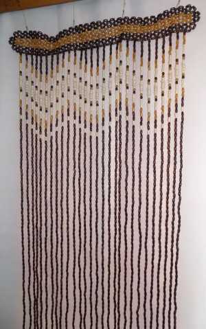 AWESOME Wooden beaded curtain door doorway room divider wood beads hand made