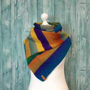 Cheer up gift for mother and girlfriend, Color block stripe wool scarf knit, Eco friendly boho scarf multicolored