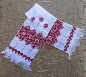 Hand embroidery Ukrainian RUSHNYK RUSHNIK wedding towel red color