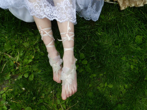 Organza Butterfly barefoot sandal Beach wedding barefoot sandal Nude shoes Bridal accessories Wedding foot jewelry Silk butterfly jewelry