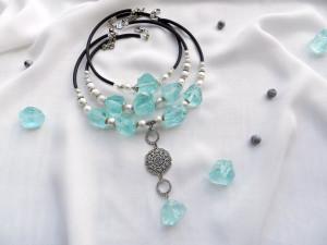Set of 3 chokers Layered necklace Large Bib necklace Big Statement necklace Gemstone jewelry Bold beaded necklace Unique Boho choker Gift