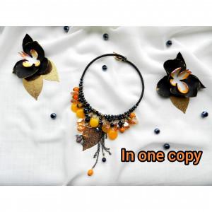 Black Orange  Necklace Large Statement necklace, Bold beaded necklace , Citrine Necklace , Boho choker Rubber jewelry unique necklace Gift