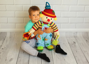 Big Knitted Doll Clown Home Decor First birthday gift Painter 22 inch doll Decor Interior doll Hand Knit Clown Doll Birthday gift boy girl