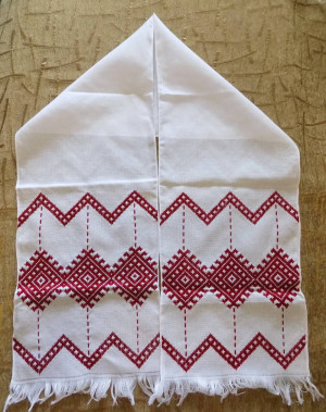AWESOME Hand embroidered Ukrainian embroidery towel RUSHNYK RUSHNIK nice red color