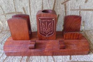 Wooden set holder desk storage organizer for pen pencil cards Ukrainian herb Trysub Trident